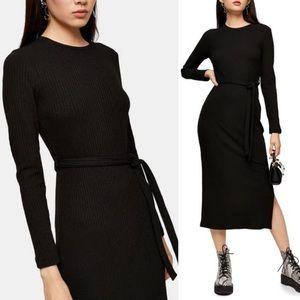 NEW Topshop Black Long Sleeve Midi Dress Belted 4